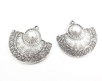 Ethnic Semi Circle Tribal Pendant - Matte Antique Silver Plated
