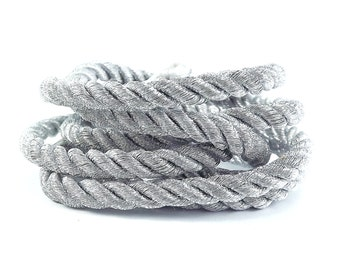 Metallic Silver 5mm Twisted Rayon Rope Braid Cord - 3 Ply Twist - 1 meters - 1.09 Yards