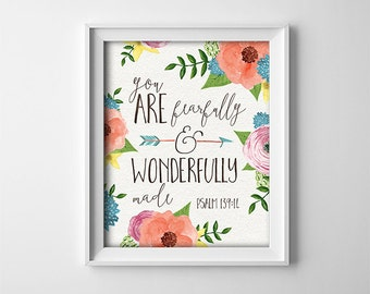 Nursery Art Print - Baptism Gift - Bible Verse - You are fearfully and wonderfully made - Nursery Decor - Peach and Teal - SKU:141