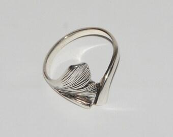 Gingko Biloba Tree Leaf Sterling Silver Ring Handmade Fine Jewelry