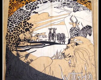 vintage 1970s silk scarf,  wild animal print,  African print, lion, leopard, elephant,zebra, antelope, made Japan, by Accessory Street,wrap