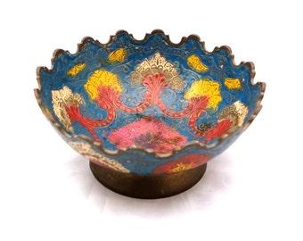 Vintage Brass Cloisonné Bowl, Brass Enamel Bowl, Round Brass Dish, Decorative Bohemian Brass Dish, Brass Enameled Bowl, Indian Brass Dish
