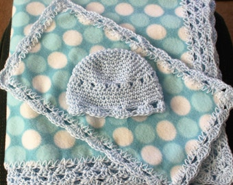 Blue Poke-A-Dot Print Hand Crochet Trimmed Baby Blanket with burp cloth and cap