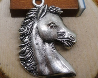 5 Horse Charms, 41x29mm Antique Silver Horse Head Charms Pendant, Antique Silver Pegasus Horse Charms Pendant