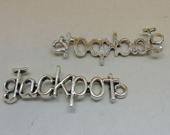 15pcs Jackpot Charms, 44x15mm Antique Silver Sideways Jackpot Charms Connector