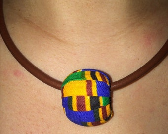 African cloth necklace