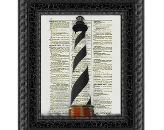 Cape Hatteras Lighthouse North Carolina, Printed On Antique Book Page