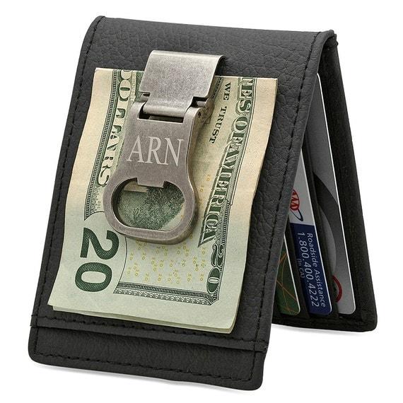 personalized genuine leather money clip card holder bottle. Black Bedroom Furniture Sets. Home Design Ideas