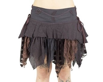 ON SALE Brown forest pixie skirt with sharp ponted fabrics such leaves, festival trance, elf skirt, faery costum, tribal pixie, corset pixie