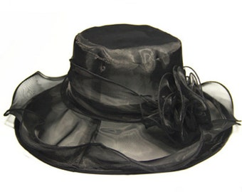 Beautiful Sheer Wide Brim Hat with detachable embellishment- Black