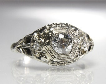 art deco engagement ring 18k white gold filigree old european cut diamond size 575 - Art Deco Wedding Rings