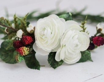Simplistic Raspberry and Cream Flower Crown