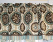 Teal Brown Beige Richloom Circular Toile Valance 17 x 54 Drapery Weight Curtain Window Treatment