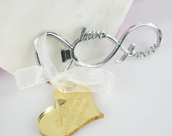 50 x Infinity Bottle Opener with Engraved Acrylic or Wooden Gift Tag