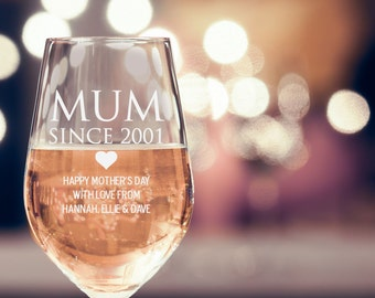 Engraved Mother's Day 360ml Wine Glass