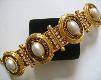 Gleaming EDGAR BEREBI Limited Edition Gold Oval Shaped Pearls Rhinestone &Brown Enamel Etruscan Jewelry Panel Link Chunky Bracelet Box 82.9g