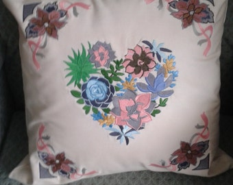 Cushion, Machine Embroidered, Valentines,Floral, Heart, Ribbons,  Washable,  Pad included. Handmade.