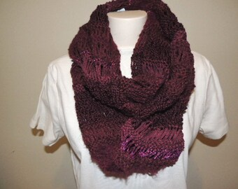 Knit Cowl, Ladies Scarves, Burgundy Scarf, Womens Accessories, Infinity Scarf