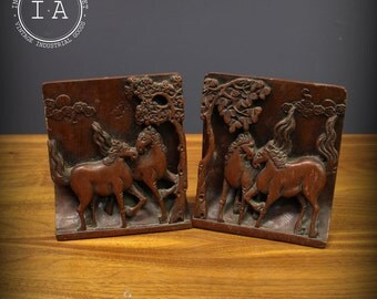 Vintage Hand Carved Wooden Horse Bookends