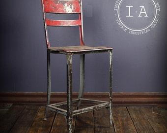 Vintage Industrial Toledo Uhl Red Metal Machinist Shop Chair