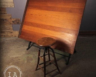 Vintage Industrial Cast Iron Drafting Table The Frederick Post Company