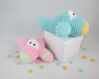 Crochet Stuffed Plane Rattle, Crochet Cotton Baby toy, Airplane Baby Rattle, Amigurumi Airplane Plush by CROriginals