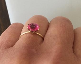 Edwardian Solid Gold Size 6 3/4 Pink Paste  Ring @CELESTEANDCOGEMS