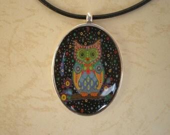 Resin pendant - Art pendant - Art jewelry - Digital print - Oval pendant