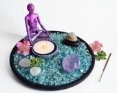 Zen Garden // Meditation Altar // Yoga Statue // Gem Garden // Incense Burner //  Goddess // Rose Quartz // Amethyst Crystal / Candle Holder