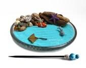 Mini Zen Garden // Ocean // Desk Accessory // DIY Zen Kit // Driftwood // Seashells // Beach Tabletop Decor // Sand Art // Meditation