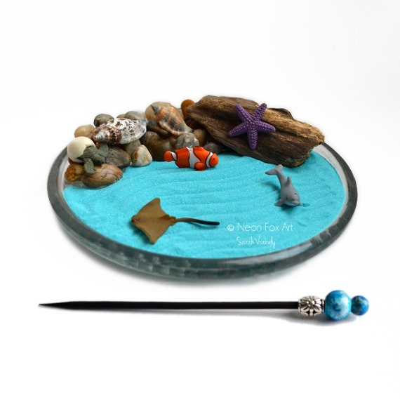 Mini zen garden ocean desk accessory diy by for Mini zen garden designs