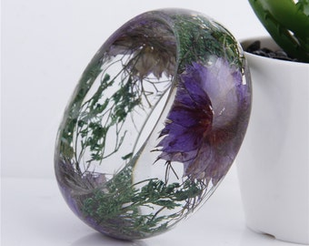Handmade Real flower Botanical jewellery resin bangle bracelet.{58}Size 64mm,height 23mm.Free USA shipping!