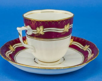 4 Person English Floral Victorian Saucer Cup Elegant Antique TEA SET Coffee 19th Century China Crimson LS