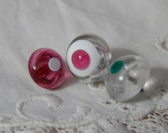 Glass Buttons with Dotted Center Color - 3