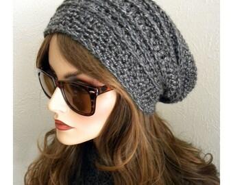 Gray Slouch Hat, Gray Winter Hat, Fashion Beanie, Bohemian Chic, Crocheted  Hat, Women's Hat, Women's accessory, winter hat