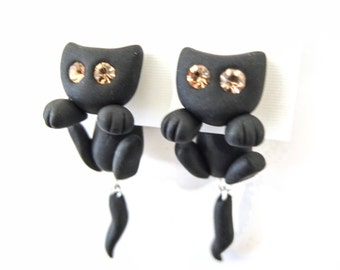 cat earring stud