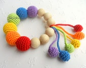 Teething toy Rainbow teether Rainbow Baby teether  Crochet Wood teether Crochet teething toy Gift for baby colors of the rainbow