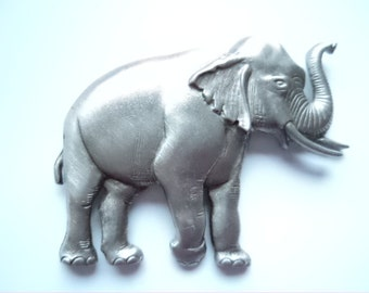 Vintage Signed JJ  Silver pewter Elephant with Trunk Up Brooch/Pin