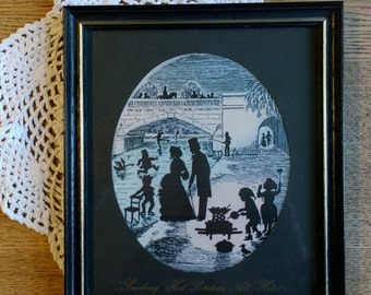 The Hot Potato Sellers By Enid Elliot Linder Children of Old London Pennyfarthing Gallery silhouette