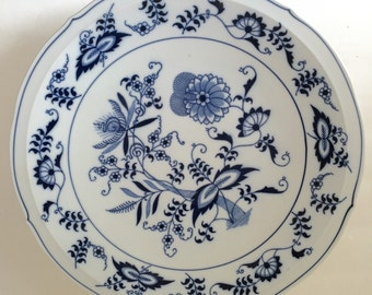 Vintage Blue Danube Blue and White Footed Platter
