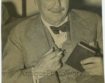 H. G. Wells science fiction writer smoking cigarette antique photo