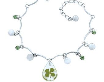 Stainless Steel Real Irish Four (4) Leaf Clover Shamrock Bracelet