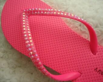 Pink Crystal Flip Flops