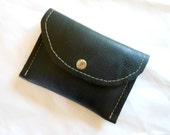 Black Leather Wallet , Leather Lined Coin/Card Purse/Pouch
