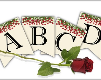 Banner Party Decoration - Printable Instant Digital Download - Complete Alphabet & Numbers - Red Rose Garden - Matching Invites, Thank You's