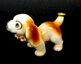 King Charles Spaniel Figurine, Vintage Japan, Little King Charles Spanial with Gold Ring or Halo on Tail, Collectible Dog Figurines