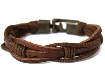 Mens Leather Bracelet for Guys Brown Braided Rope Mens Bracelet for Mens Gift Husband Gift Mens Jewelry Gift for Him Birthday Gift Mens