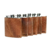 6 Groomsmen gift / SIX personalized flask, hipster, unique gift, wood wrapped flask