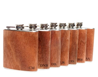 7 Outdoor wedding, unique groomsmen gift, SEVEN flask, wedding party, hipster, wood wrapped metal flask