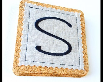 Embroidered Initial Coasters Set, Embroidered Coasters, Wedding Gift, Personalized Coasters